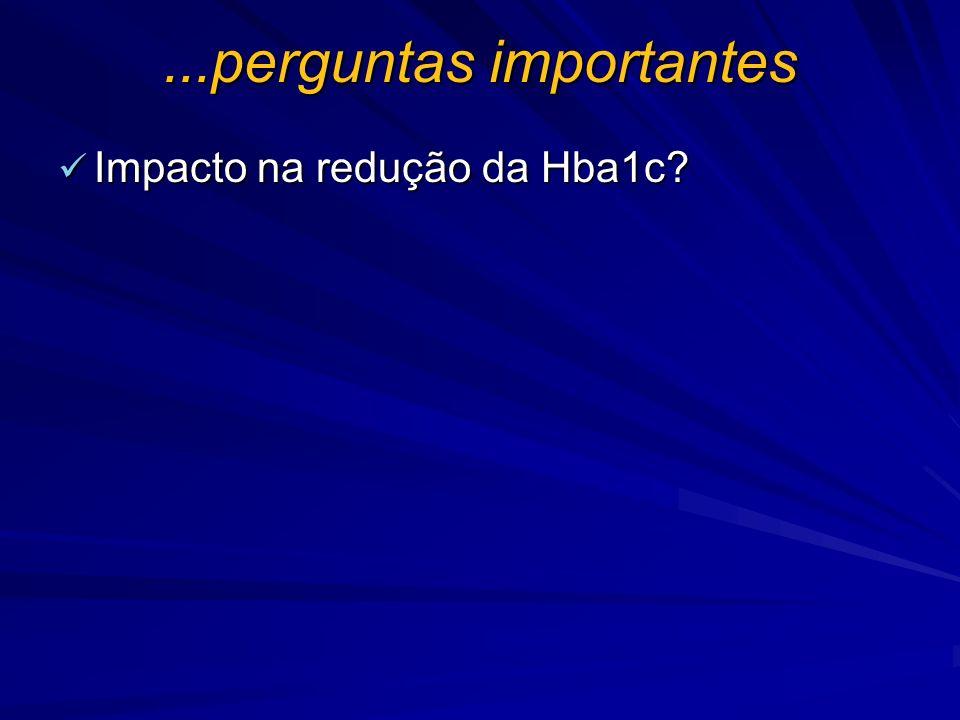 ...perguntas importantes Impacto na redução da Hba1c? Impacto na redução da Hba1c?