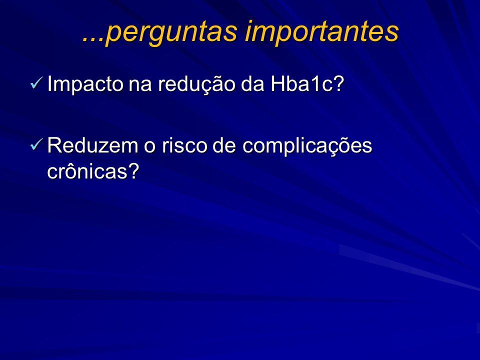 ...perguntas importantes Impacto na redução da Hba1c? Impacto na redução da Hba1c? Reduzem o risco de complicações crônicas? Reduzem o risco de compli