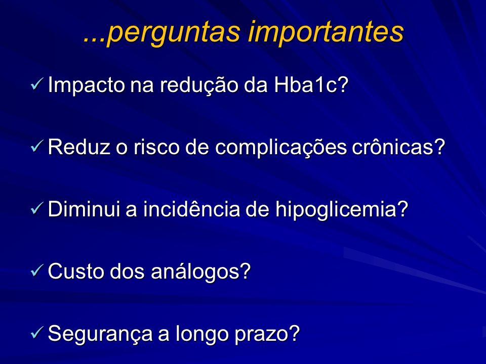 ...perguntas importantes Impacto na redução da Hba1c? Impacto na redução da Hba1c? Reduz o risco de complicações crônicas? Reduz o risco de complicaçõ