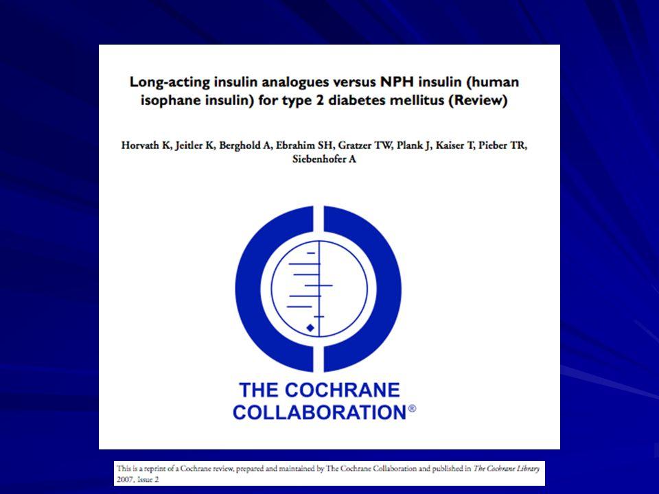 NPH vs Glargina(DM2) Eficácia, medida pela HbA1c, semelhante Eficácia, medida pela HbA1c, semelhante Menor incidência de hipoglicemia, principalmente noturna Menor incidência de hipoglicemia, principalmente noturna Menor ganho de peso Menor ganho de peso Diabetes Care 28:950 –955, 2005 Diabetes Care 24:631– 636, 2001 Diabetes Care 26:3080-6, 2003