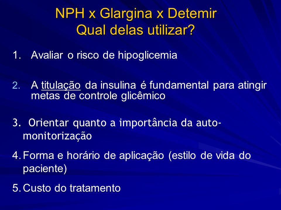 1. 1.Avaliar o risco de hipoglicemia 2. 2. A titulação da insulina é fundamental para atingir metas de controle glicêmico 3. Orientar quanto a importâ
