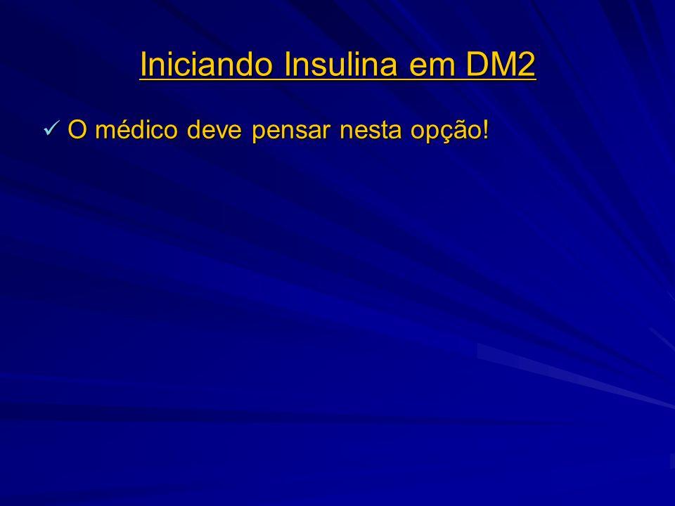 Iniciando Insulina em DM2 O médico deve pensar nesta opção! O médico deve pensar nesta opção!