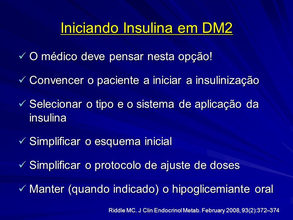 Iniciando Insulina em DM2 O médico deve pensar nesta opção! O médico deve pensar nesta opção! Convencer o paciente a iniciar a insulinização Convencer