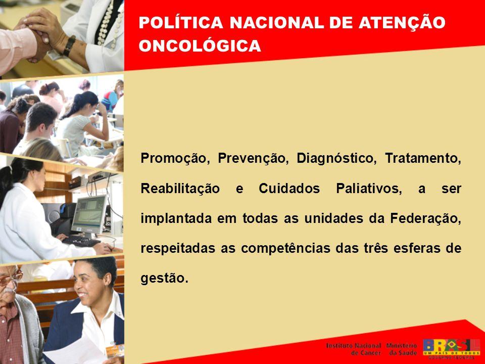 POLÍTICA NACIONAL DE ATENÇÃO ONCOLÓGICA Promoção, Prevenção, Diagnóstico, Tratamento, Reabilitação e Cuidados Paliativos, a ser implantada em todas as