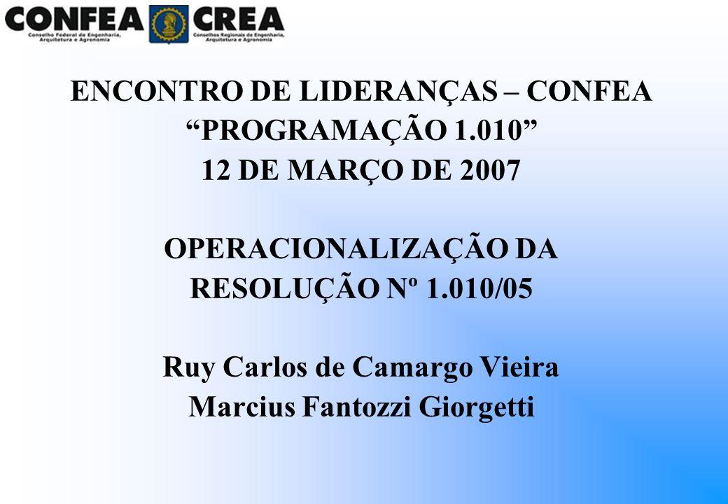 ENCONTRO DE LIDERANÇAS – CONFEA PROGRAMAÇÃO 1.010 12 DE MARÇO DE 2007 OPERACIONALIZAÇÃO DA RESOLUÇÃO Nº 1.010/05 Ruy Carlos de Camargo Vieira Marcius