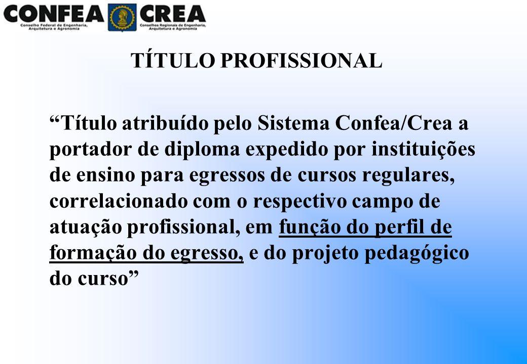 TÍTULO PROFISSIONAL Título atribuído pelo Sistema Confea/Crea a portador de diploma expedido por instituições de ensino para egressos de cursos regula