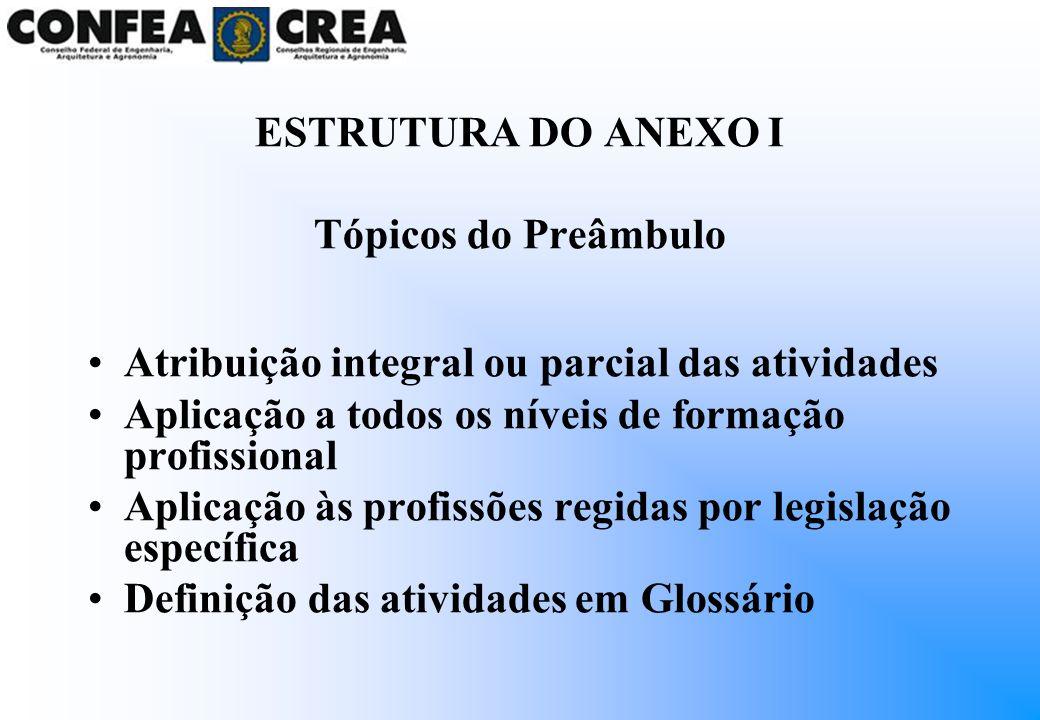 ESTRUTURA DO ANEXO I Tópicos do Preâmbulo Atribuição integral ou parcial das atividades Aplicação a todos os níveis de formação profissional Aplicação