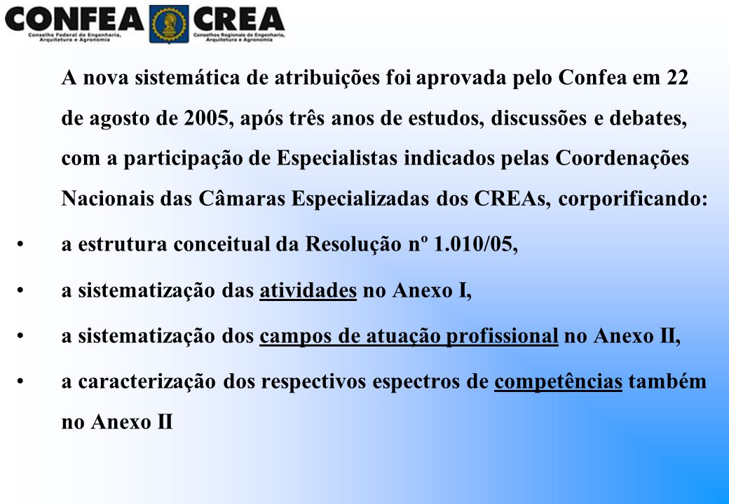 A nova sistemática de atribuições foi aprovada pelo Confea em 22 de agosto de 2005, após três anos de estudos, discussões e debates, com a participaçã
