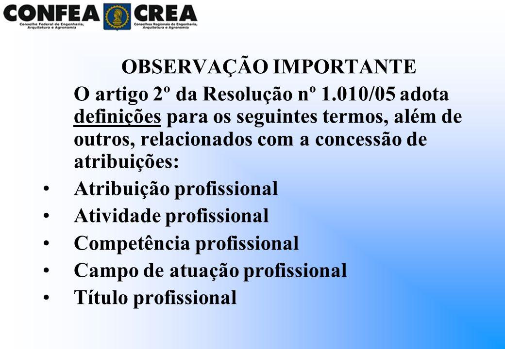 ATRIBUIÇÃO PROFISSIONAL Ato específico de consignar direitos e responsabilidades para o exercício da profissão, em reconhecimento de competências e habilidades derivadas de formação profissional obtida em cursos regulares