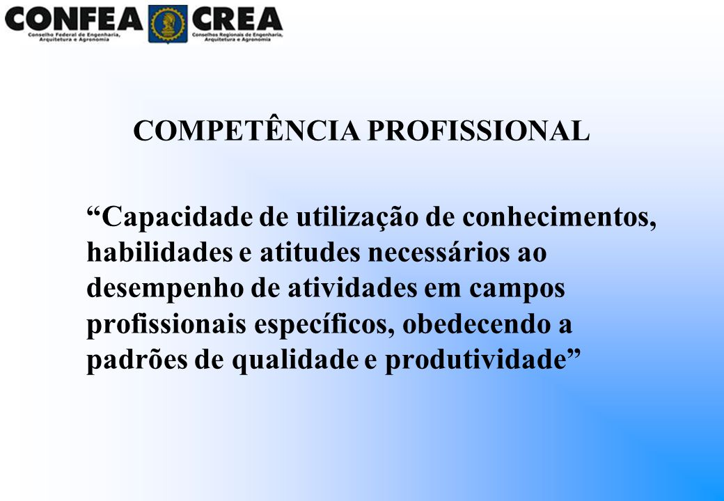 COMPETÊNCIA PROFISSIONAL Capacidade de utilização de conhecimentos, habilidades e atitudes necessários ao desempenho de atividades em campos profissio