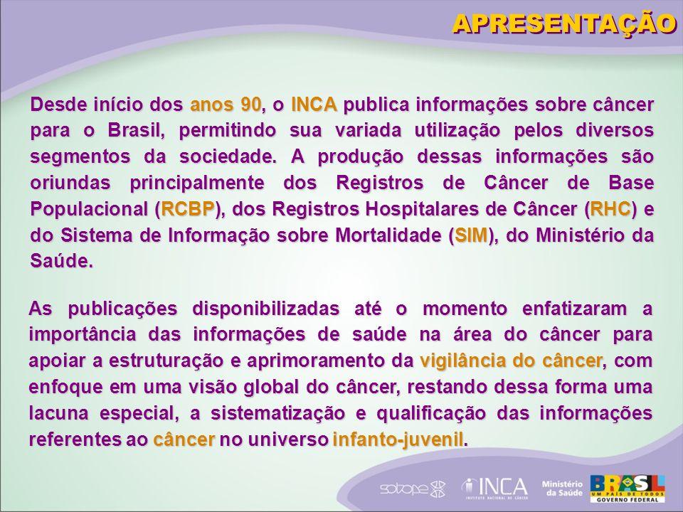 Desde início dos anos 90, o INCA publica informações sobre câncer para o Brasil, permitindo sua variada utilização pelos diversos segmentos da sociedade.