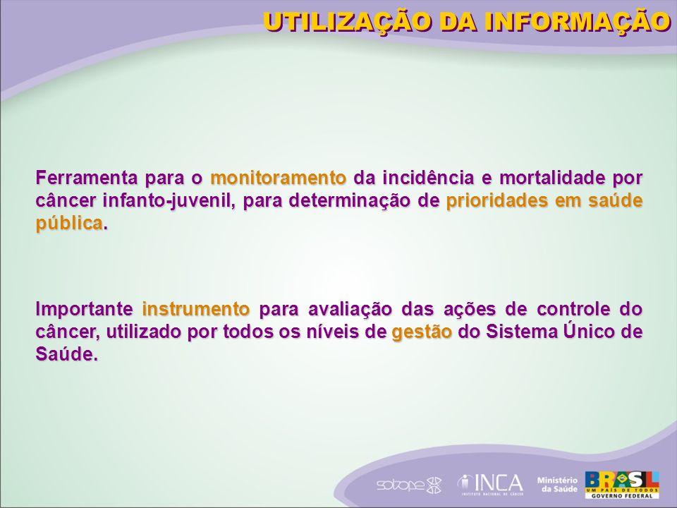 UTILIZAÇÃO DA INFORMAÇÃO Ferramenta para o monitoramento da incidência e mortalidade por câncer infanto-juvenil, para determinação de prioridades em saúde pública.