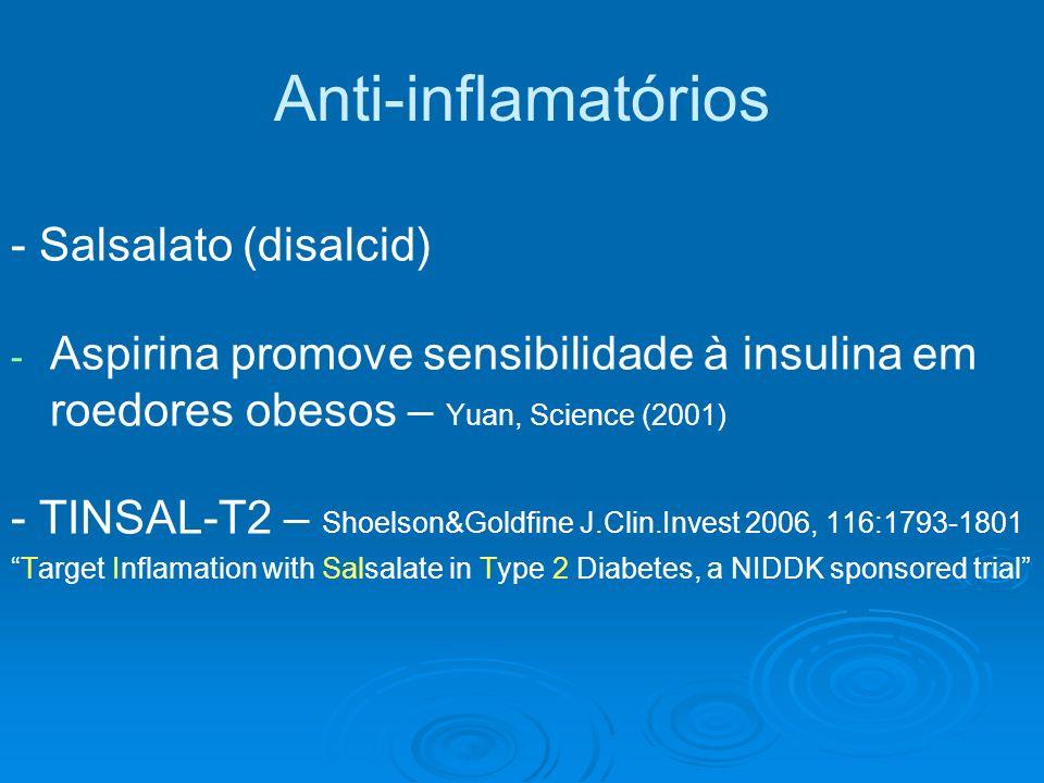 Anti-inflamatórios - Salsalato (disalcid) - - Aspirina promove sensibilidade à insulina em roedores obesos – Yuan, Science (2001) - TINSAL-T2 – Shoels
