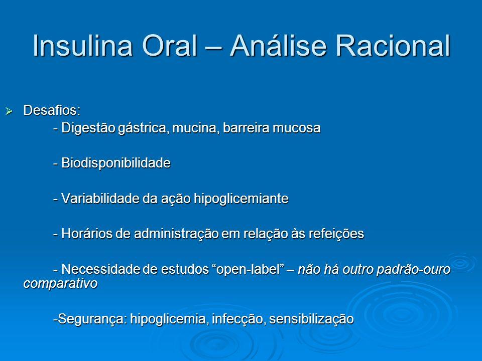 Insulina Oral – Análise Racional Desafios: Desafios: - Digestão gástrica, mucina, barreira mucosa - Biodisponibilidade - Variabilidade da ação hipogli