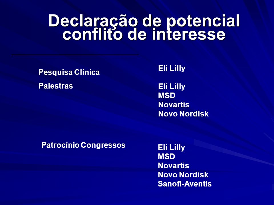 Declaração de potencial conflito de interesse Eli Lilly MSD Novartis Novo Nordisk Pesquisa Clínica Palestras Patrocínio Congressos Eli Lilly MSD Novar