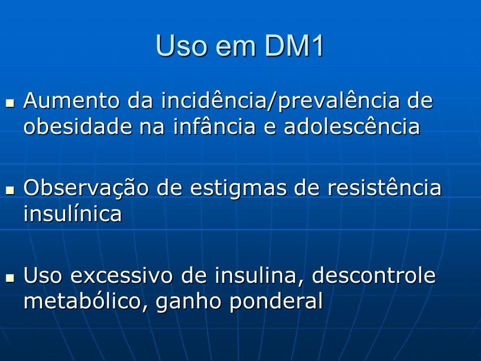 Uso em DM1 Aumento da incidência/prevalência de obesidade na infância e adolescência Aumento da incidência/prevalência de obesidade na infância e adol