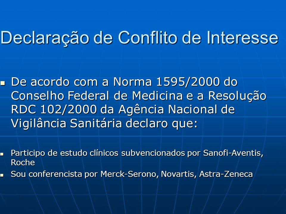 Declaração de Conflito de Interesse De acordo com a Norma 1595/2000 do Conselho Federal de Medicina e a Resolução RDC 102/2000 da Agência Nacional de
