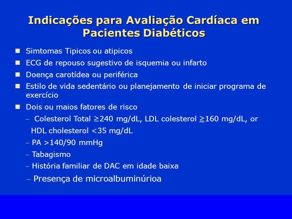 Slide Source Lipids Online Slide Library www.lipidsonline.org Indicações para Avaliação Cardíaca em Pacientes Diabéticos Simtomas Tipicos ou atipicos ECG de repouso sugestivo de isquemia ou infarto Doença carotídea ou periférica Estilo de vida sedentário ou planejamento de iniciar programa de exercício Dois ou maios fatores de risco Colesterol Total 240 mg/dL, LDL colesterol 160 mg/dL, or HDL cholesterol <35 mg/dL PA >140/90 mmHg Tabagismo História familiar de DAC em idade baixa Presença de microalbuminúrioa
