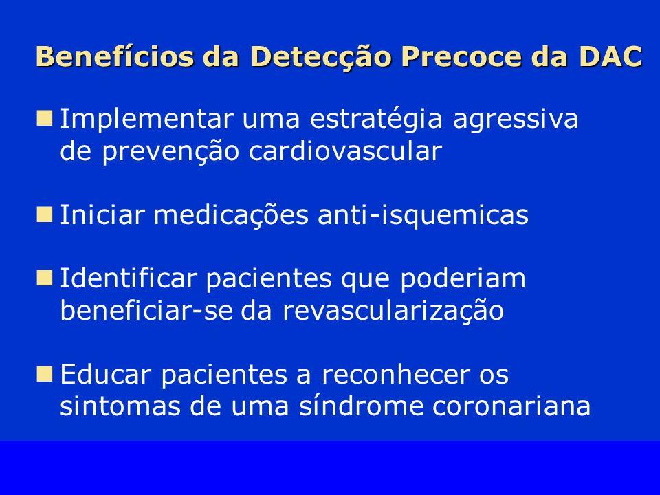 Slide Source Lipids Online Slide Library www.lipidsonline.org Benefícios da Detecção Precoce da DAC Implementar uma estratégia agressiva de prevenção cardiovascular Iniciar medicações anti-isquemicas Identificar pacientes que poderiam beneficiar-se da revascularização Educar pacientes a reconhecer os sintomas de uma síndrome coronariana