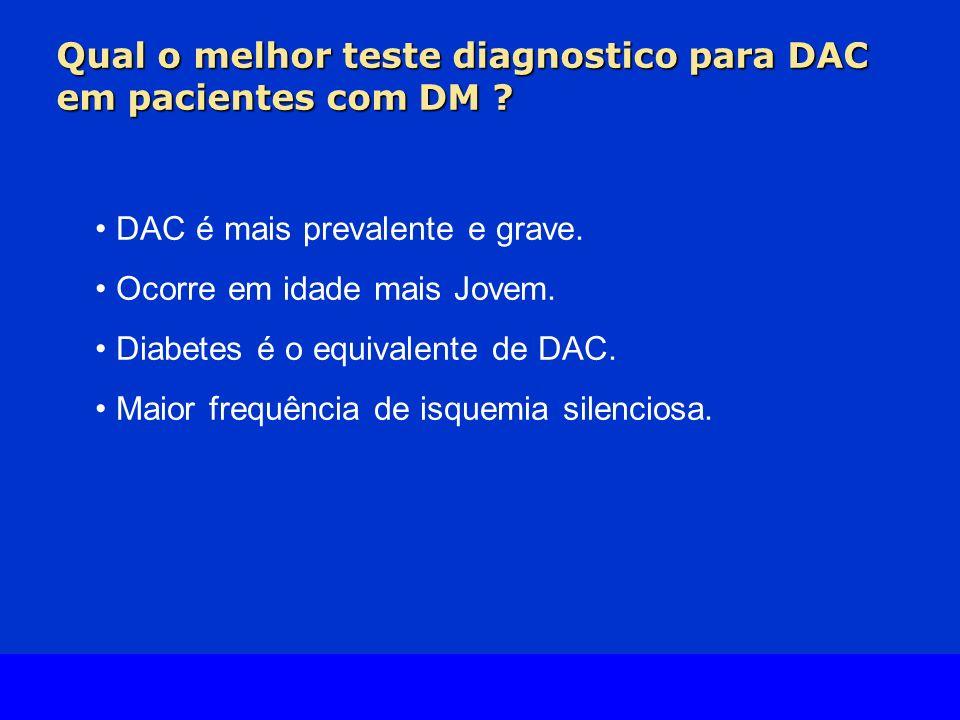 Slide Source Lipids Online Slide Library www.lipidsonline.org Qual o melhor teste diagnostico para DAC em pacientes com DM ? DAC é mais prevalente e g
