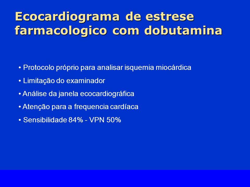 Slide Source Lipids Online Slide Library www.lipidsonline.org Ecocardiograma de estrese farmacologico com dobutamina Protocolo próprio para analisar isquemia miocárdica Limitação do examinador Análise da janela ecocardiográfica Atenção para a frequencia cardíaca Sensibilidade 84% - VPN 50%