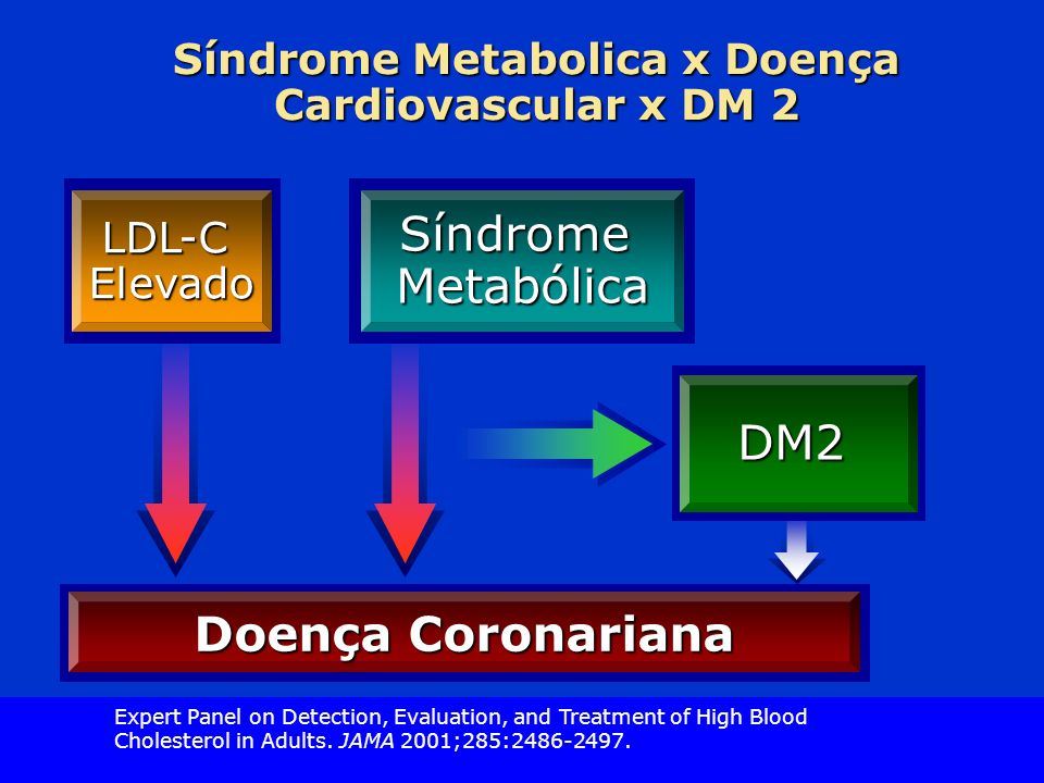 Slide Source Lipids Online Slide Library www.lipidsonline.org Síndrome Metabolica x Doença Cardiovascular x DM 2 Doença Coronariana DM2 LDL-CElevadoSíndromeMetabólica Expert Panel on Detection, Evaluation, and Treatment of High Blood Cholesterol in Adults.