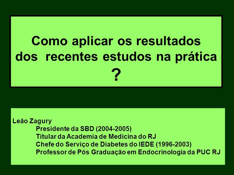 Leão Zagury Presidente da SBD (2004-2005) Titular da Academia de Medicina do RJ Chefe do Serviço de Diabetes do IEDE (1996-2003) Professor de Pós Grad
