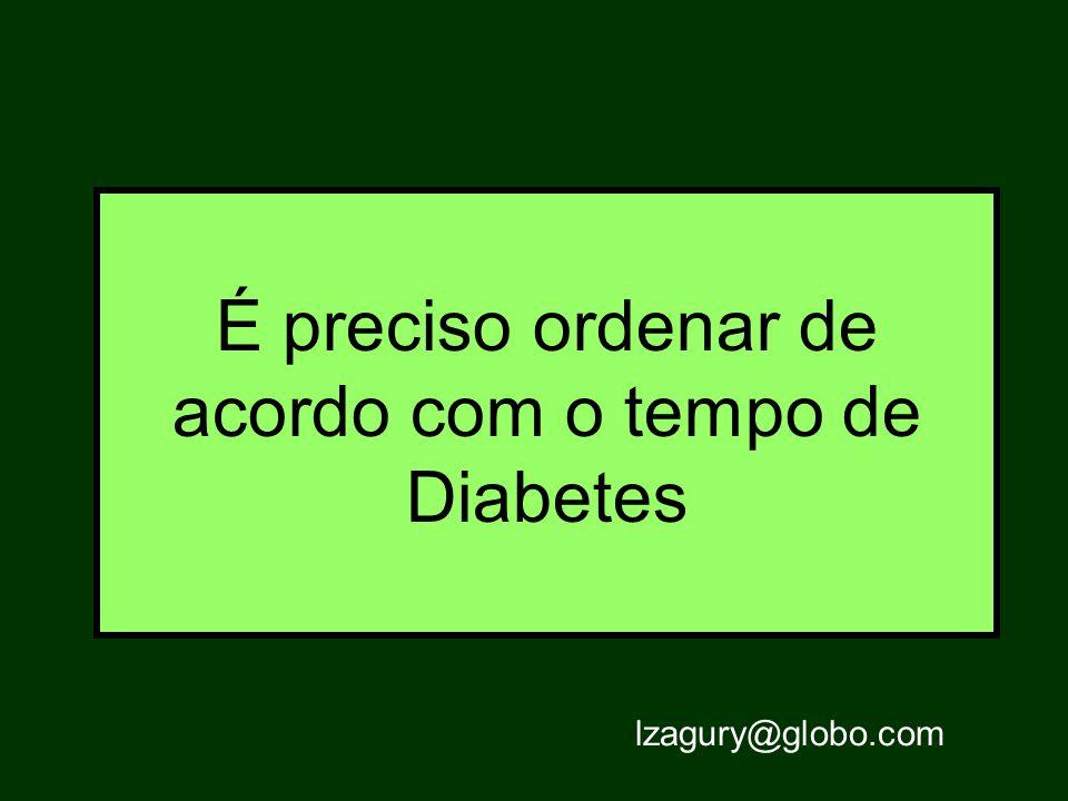 É preciso ordenar de acordo com o tempo de Diabetes lzagury@globo.com