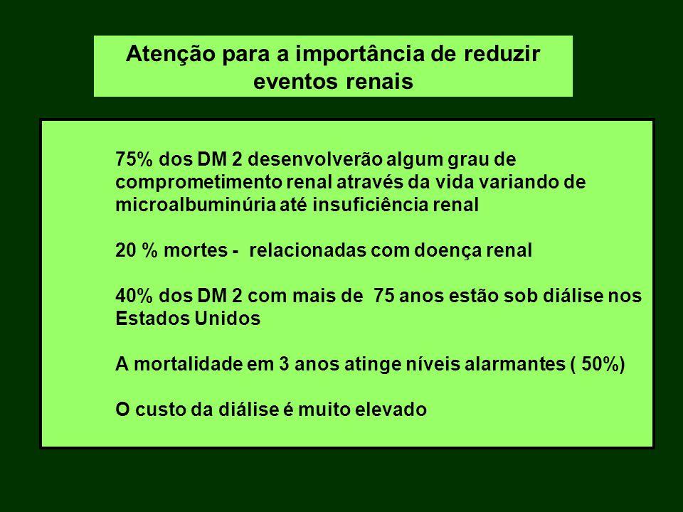 75% dos DM 2 desenvolverão algum grau de comprometimento renal através da vida variando de microalbuminúria até insuficiência renal 20 % mortes - rela