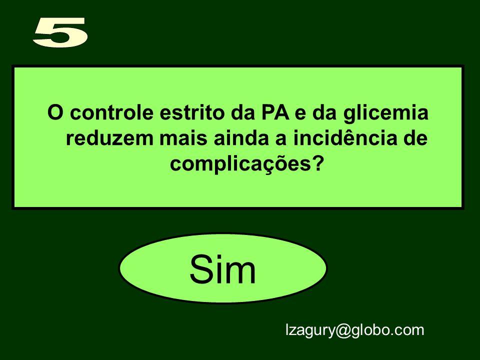 O controle estrito da PA e da glicemia reduzem mais ainda a incidência de complicações? Sim lzagury@globo.com