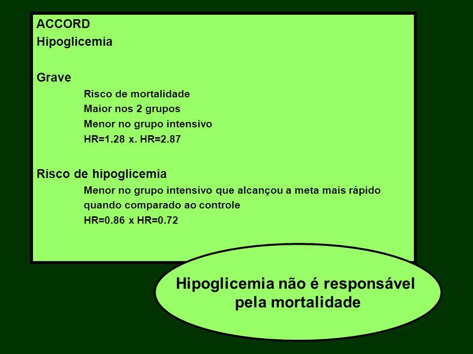 ACCORD Hipoglicemia Grave Risco de mortalidade Maior nos 2 grupos Menor no grupo intensivo HR=1.28 x. HR=2.87 Risco de hipoglicemia Menor no grupo int