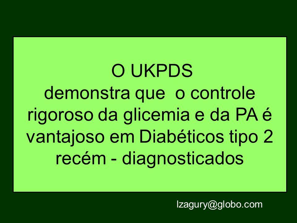 O UKPDS demonstra que o controle rigoroso da glicemia e da PA é vantajoso em Diabéticos tipo 2 recém - diagnosticados lzagury@globo.com