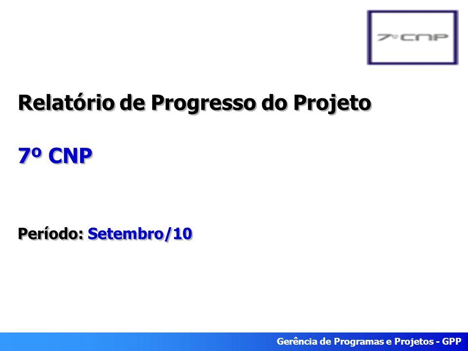 Gerência de Programas e Projetos - GPP Relatório de Progresso do Projeto 7º CNP Período: Setembro/10