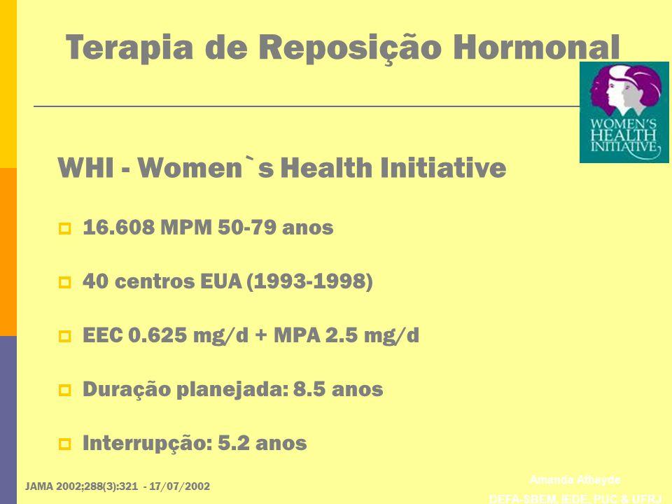 Amanda Athayde DEFA-SBEM, IEDE, PUC & UFRJ WHI - Women`s Health Initiative JAMA 2002;288(3):321 - 17/07/2002 16.608 MPM 50-79 anos 40 centros EUA (199