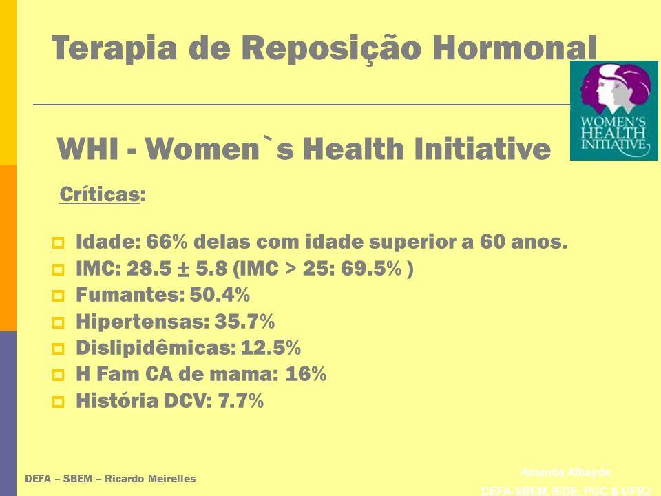 Amanda Athayde DEFA-SBEM, IEDE, PUC & UFRJ WHI - Women`s Health Initiative DEFA – SBEM – Ricardo Meirelles Idade: 66% delas com idade superior a 60 an