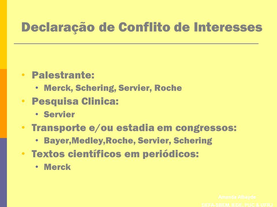 Amanda Athayde DEFA-SBEM, IEDE, PUC & UFRJ Declaração de Conflito de Interesses Palestrante: Merck, Schering, Servier, Roche Pesquisa Clinica: Servier