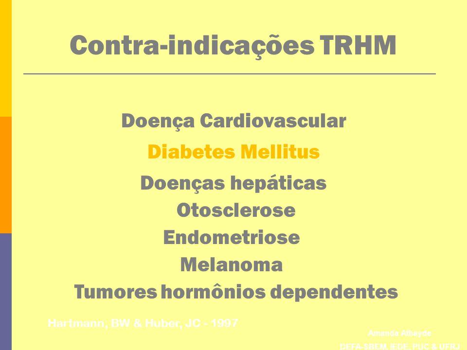 Amanda Athayde DEFA-SBEM, IEDE, PUC & UFRJ Contra-indicações TRHM Hartmann, BW & Huber, JC - 1997 Doença Cardiovascular Diabetes Mellitus Doenças hepá