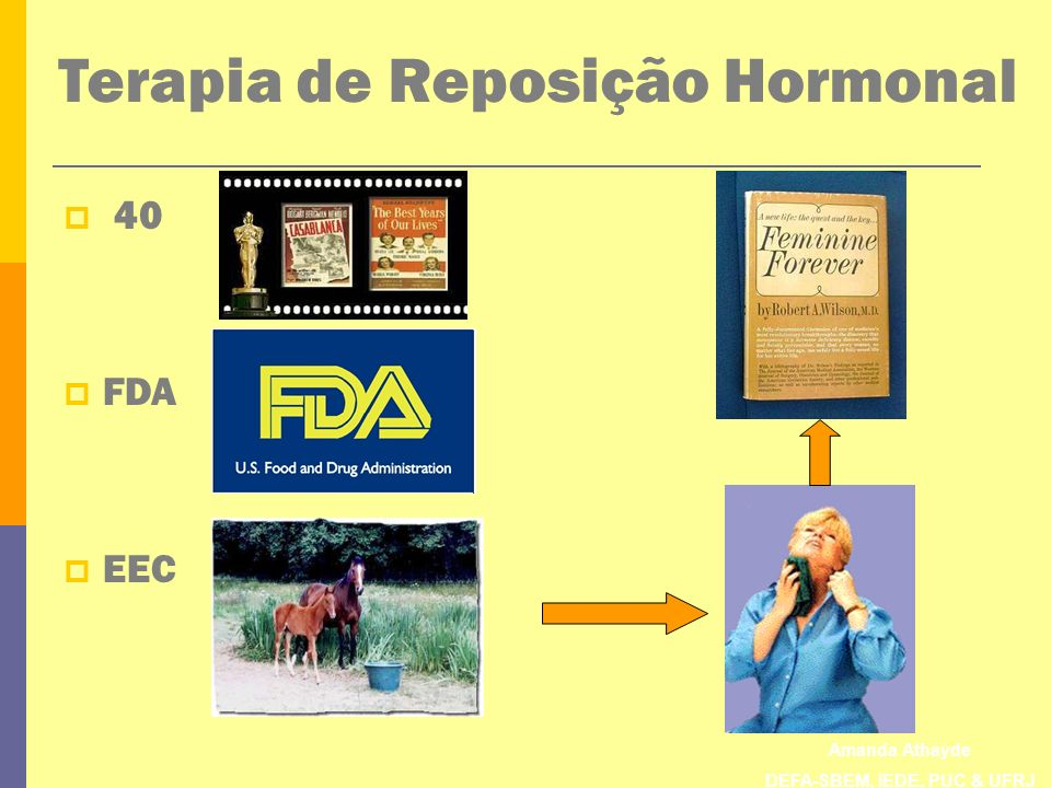 Amanda Athayde DEFA-SBEM, IEDE, PUC & UFRJ Terapia de Reposição Hormonal 40 FDA EEC