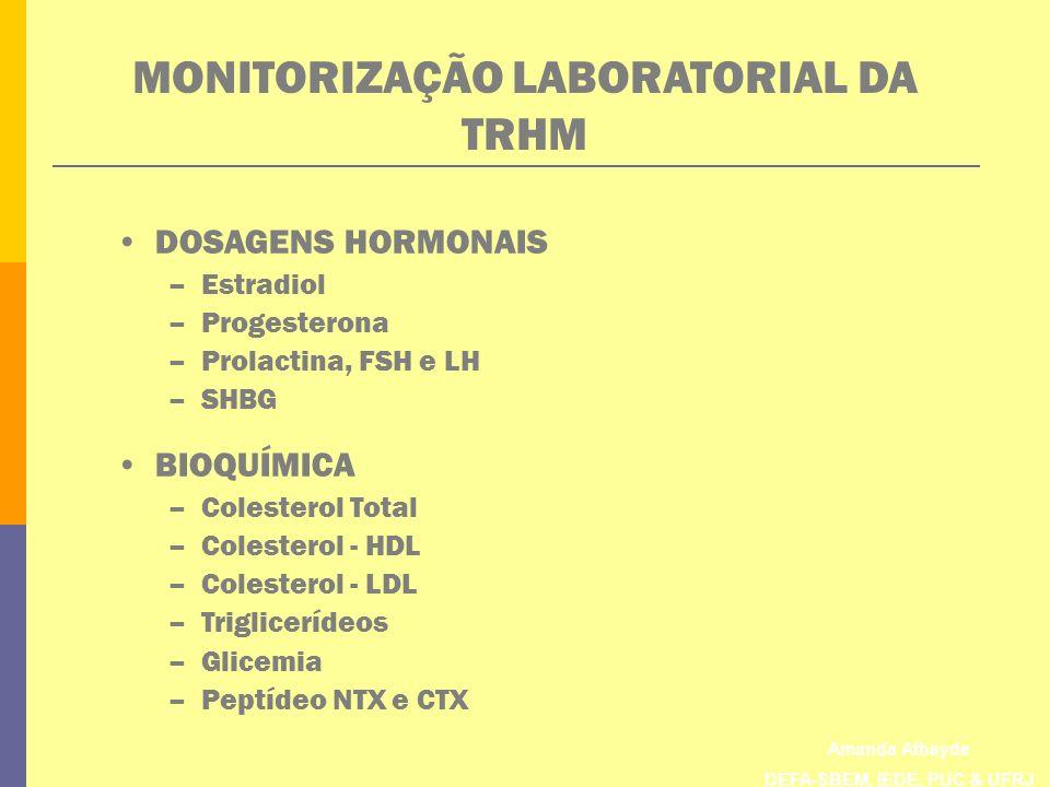 Amanda Athayde DEFA-SBEM, IEDE, PUC & UFRJ MONITORIZAÇÃO LABORATORIAL DA TRHM DOSAGENS HORMONAIS –Estradiol –Progesterona –Prolactina, FSH e LH –SHBG