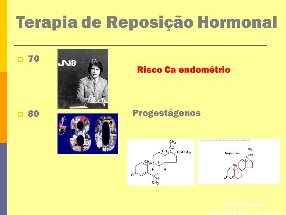 Amanda Athayde DEFA-SBEM, IEDE, PUC & UFRJ Terapia de Reposição Hormonal 70 80 Risco Ca endométrio Progestágenos