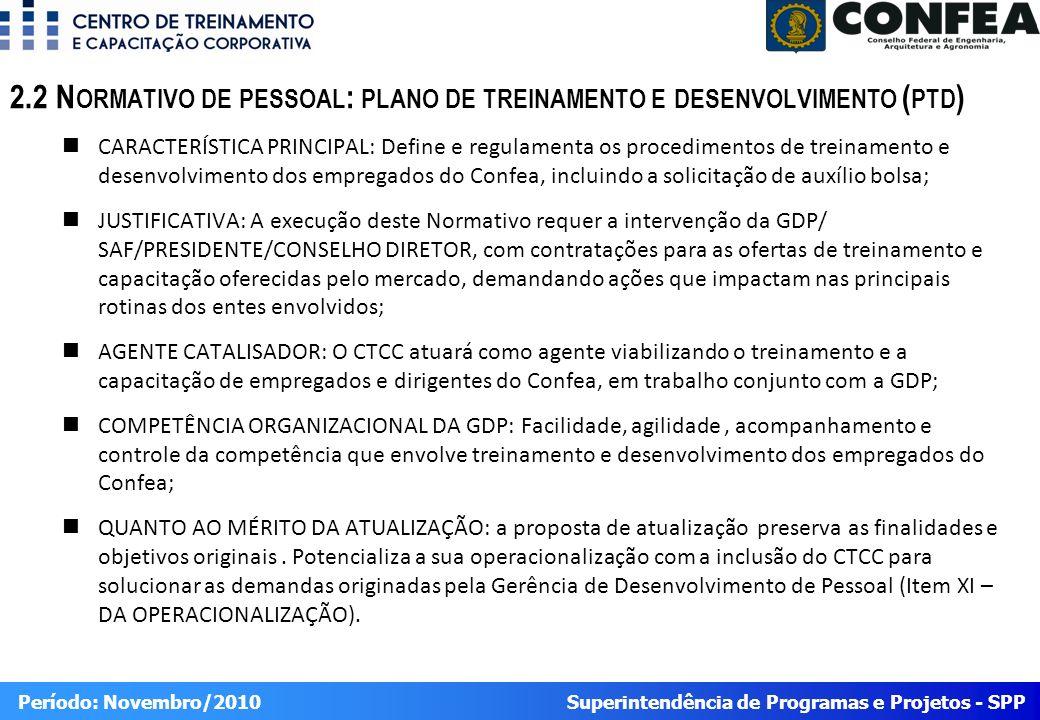 Superintendência de Programas e Projetos - SPP Período: Novembro/2010 CARACTERÍSTICA PRINCIPAL: Define e regulamenta os procedimentos de treinamento e desenvolvimento dos empregados do Confea, incluindo a solicitação de auxílio bolsa; JUSTIFICATIVA: A execução deste Normativo requer a intervenção da GDP/ SAF/PRESIDENTE/CONSELHO DIRETOR, com contratações para as ofertas de treinamento e capacitação oferecidas pelo mercado, demandando ações que impactam nas principais rotinas dos entes envolvidos; AGENTE CATALISADOR: O CTCC atuará como agente viabilizando o treinamento e a capacitação de empregados e dirigentes do Confea, em trabalho conjunto com a GDP; COMPETÊNCIA ORGANIZACIONAL DA GDP: Facilidade, agilidade, acompanhamento e controle da competência que envolve treinamento e desenvolvimento dos empregados do Confea; QUANTO AO MÉRITO DA ATUALIZAÇÃO: a proposta de atualização preserva as finalidades e objetivos originais.