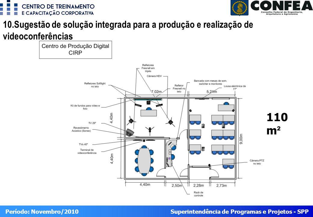 Superintendência de Programas e Projetos - SPP Período: Novembro/2010 10.Sugestão de solução integrada para a produção e realização de videoconferências 110 m ²