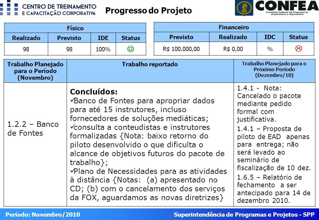 Superintendência de Programas e Projetos - SPP Período: Novembro/2010 6.