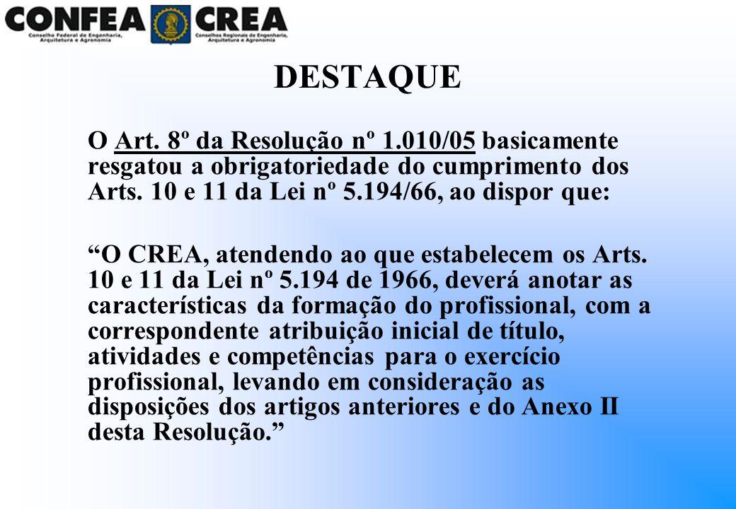 DESTAQUE O Art. 8º da Resolução nº 1.010/05 basicamente resgatou a obrigatoriedade do cumprimento dos Arts. 10 e 11 da Lei nº 5.194/66, ao dispor que: