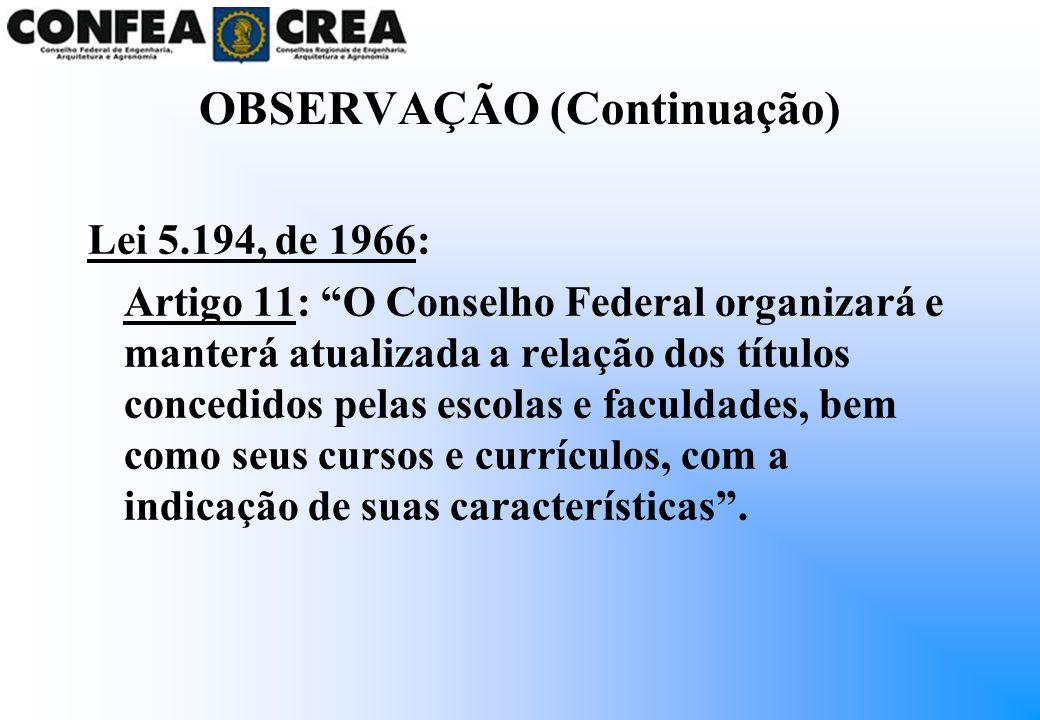 OBSERVAÇÃO (Continuação) Lei 5.194, de 1966: Artigo 11: O Conselho Federal organizará e manterá atualizada a relação dos títulos concedidos pelas esco