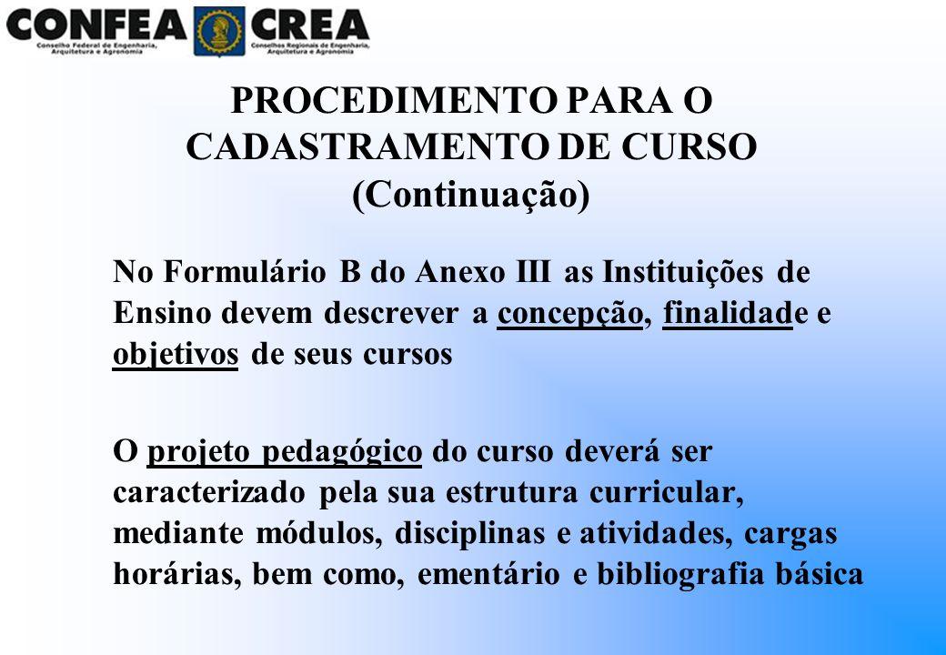 No Formulário B do Anexo III as Instituições de Ensino devem descrever a concepção, finalidade e objetivos de seus cursos O projeto pedagógico do curs