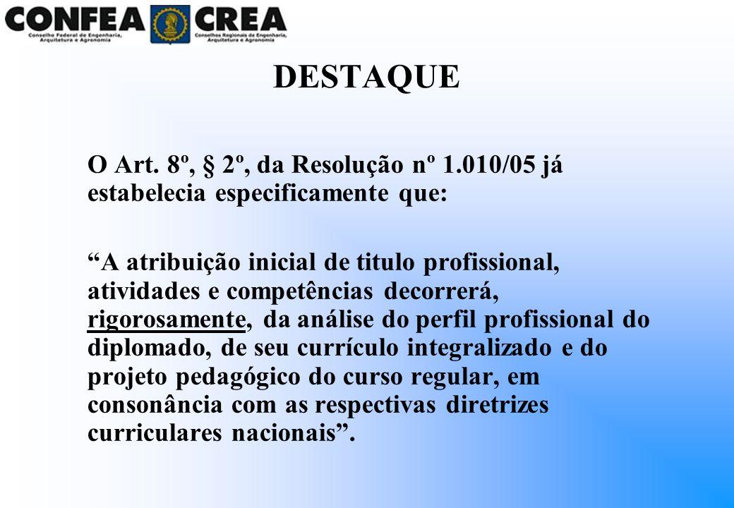DESTAQUE O Art. 8º, § 2º, da Resolução nº 1.010/05 já estabelecia especificamente que: A atribuição inicial de titulo profissional, atividades e compe