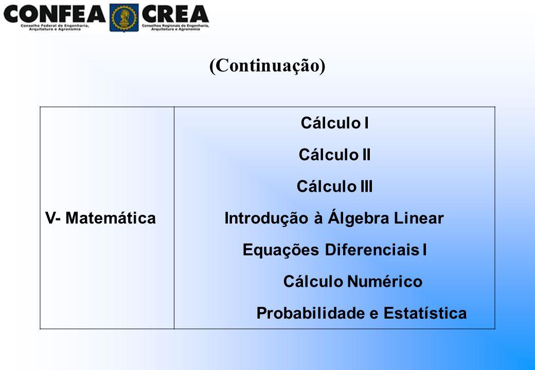 V- Matemática Cálculo I Cálculo II Cálculo III Introdução à Álgebra Linear Equações Diferenciais I Cálculo Numérico Probabilidade e Estatística (Conti