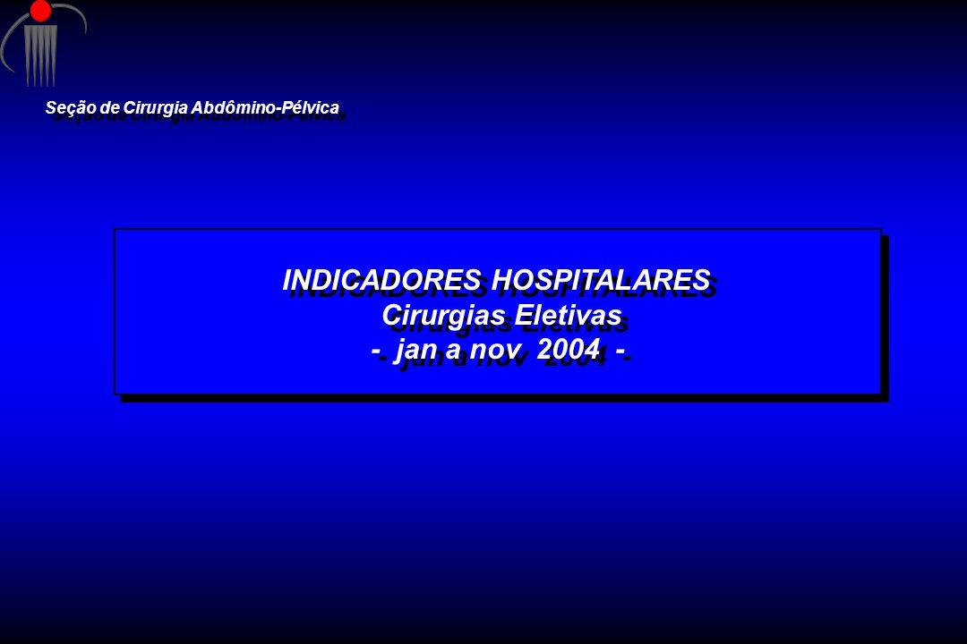INDICADORES HOSPITALARES Cirurgias Eletivas - jan a nov 2004 - INDICADORES HOSPITALARES Cirurgias Eletivas - jan a nov 2004 - Seção de Cirurgia Abdômi