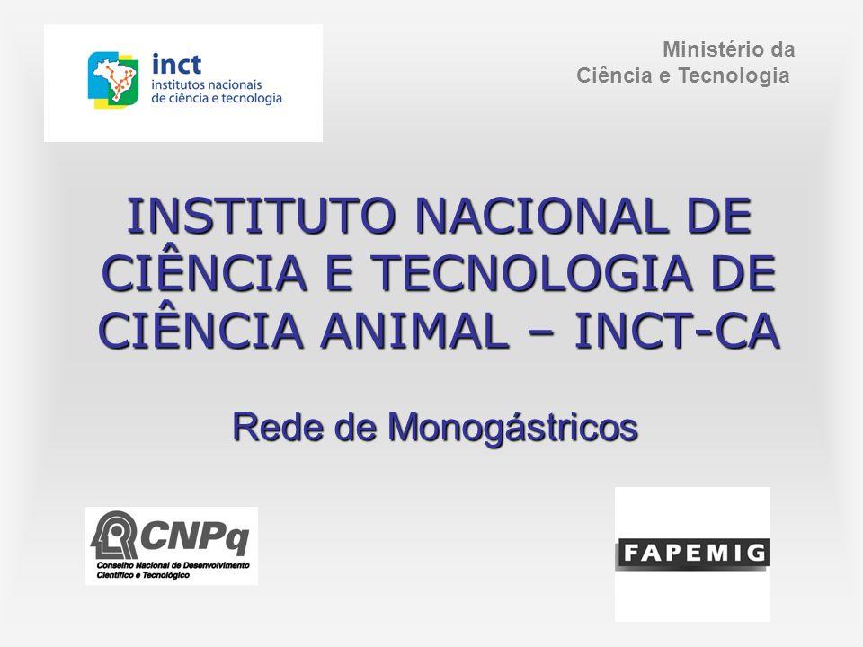 INSTITUTO NACIONAL DE CIÊNCIA E TECNOLOGIA DE CIÊNCIA ANIMAL – INCT-CA Ministério da Ciência e Tecnologia Rede de Monogástricos